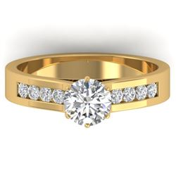1.1 CTW Certified VS/SI Diamond Solitaire Art Deco Ring 14K Yellow Gold - REF-188T2M - 30347