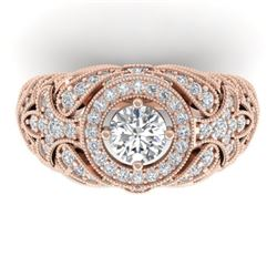 2.35 CTW Certified VS/SI Diamond Art Deco Halo Ring 14K Rose Gold - REF-293Y3K - 30409