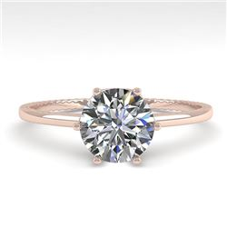 1.01 CTW VS/SI Diamond Solitaire Engagement Ring 18K Rose Gold - REF-286Y3K - 35888