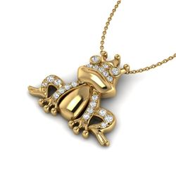 0.25 CTW Micro Pave VS/SI Diamond Frog Necklace 10K Yellow Gold - REF-30M8H - 22498