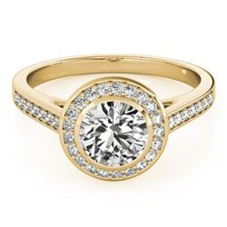 1.3 CTW Certified VS/SI Diamond Solitaire Halo Ring 18K Yellow Gold - REF-385M3H - 26418