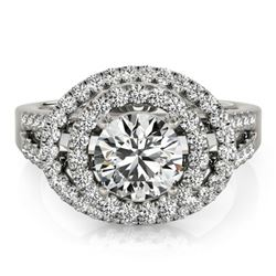 1.75 CTW Certified VS/SI Diamond Solitaire Halo Ring 18K White Gold - REF-438K4W - 26925