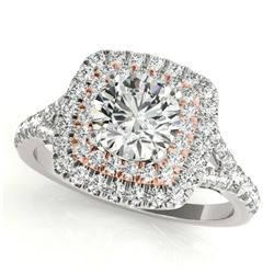 1.45 CTW Certified VS/SI Diamond Solitaire Halo Ring 18K White & Rose Gold - REF-226A2X - 26238