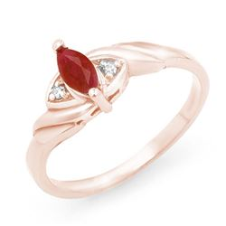 0.26 CTW Ruby & Diamond Ring 14K Rose Gold - REF-17H6A - 12293