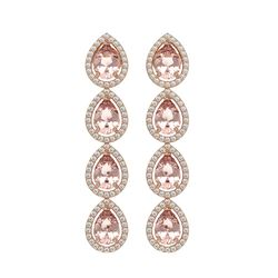 7.8 CTW Morganite & Diamond Halo Earrings 10K Rose Gold - REF-189A6X - 41151