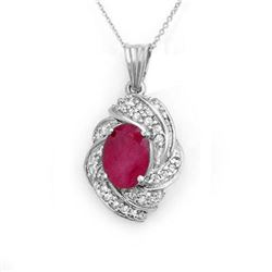 3.87 CTW Ruby & Diamond Pendant 18K White Gold - REF-90X9T - 14362