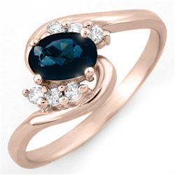0.70 CTW Blue Sapphire & Diamond Ring 14K Rose Gold - REF-23H3A - 10593