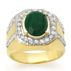 5.25 CTW Emerald & Diamond Men's Ring 10K Yellow Gold - REF-118A2X - 14499