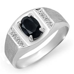 2.0 CTW Blue Sapphire Men's Ring 10K White Gold - REF-21X6T - 12571