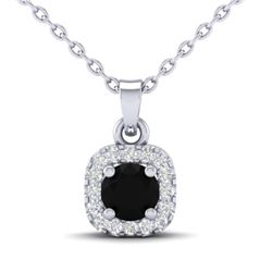 0.47 CTW Micro Pave VS/SI Diamond Heart Necklace Designer Halo 18K White Gold - REF-34A4X - 21303