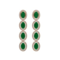 6.47 CTW Emerald & Diamond Halo Earrings 10K Rose Gold - REF-114H2A - 40503