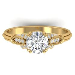1.15 CTW Certified VS/SI Diamond Solitaire Art Deco Ring 14K Yellow Gold - REF-281A8X - 30551