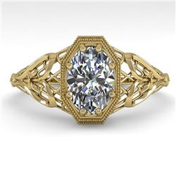 1.0 CTW VS/SI Oval Diamond Solitaire Engagement Ring Deco Size 7 18K Yellow Gold - REF-299N4Y - 3604