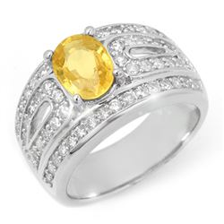 3.04 CTW Yellow Sapphire & Diamond Ring 14K White Gold - REF-121N5Y - 10737