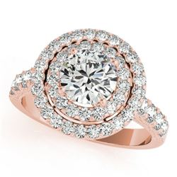 2.25 CTW Certified VS/SI Diamond Solitaire Halo Ring 18K Rose Gold - REF-443F3N - 26884