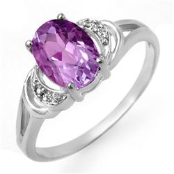 1.05 CTW Amethyst & Diamond Ring 10K White Gold - REF-14X4T - 12300
