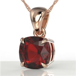 1.50 Cushion Cut CTW Garnet Designer Solitaire Necklace 14K Rose Gold - REF-20X2T - 21942