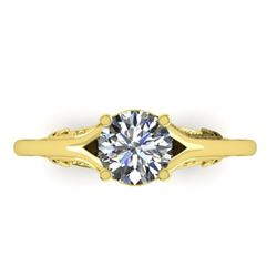 1 CTW Solitaire Certified VS/SI Diamond Ring 14K Yellow Gold - REF-278X4T - 38543