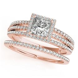 1.05 CTW Certified VS/SI Princess Diamond 2Pc Set Solitaire Halo 14K Rose Gold - REF-161F3N - 31383