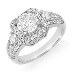 2.0 CTW Certified VS/SI Diamond Ring 14K White Gold - REF-531A3X - 14546