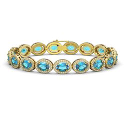 24.32 CTW Swiss Topaz & Diamond Halo Bracelet 10K Yellow Gold - REF-252X8T - 40636