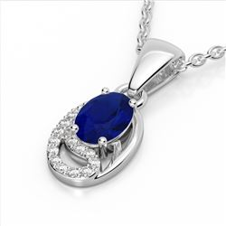 1.25 CTW Sapphire & Micro VS/SI Diamond Necklace 10K White Gold - REF-19Y6K - 22356
