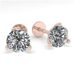 0.52 CTW Certified VS/SI Diamond Stud Earrings Martini 18K Rose Gold - REF-50K2W - 32195