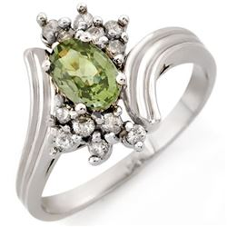 1.0 CTW Green Sapphire & Diamond Ring 10K White Gold - REF-27F3N - 10193