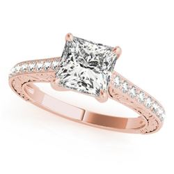1.3 CTW Certified VS/SI Princess Diamond Solitaire Ring 18K Rose Gold - REF-359W5F - 27643