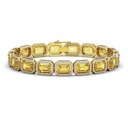 23.74 CTW Fancy Citrine & Diamond Halo Bracelet 10K Yellow Gold - REF-303M8H - 41422