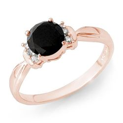 1.10 CTW VS Certified Black & White Diamond Solitaire Ring 14K Rose Gold - REF-41N5Y - 13943