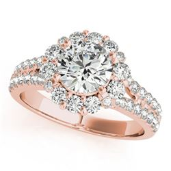 1.76 CTW Certified VS/SI Diamond Solitaire Halo Ring 18K Rose Gold - REF-247M3H - 26698