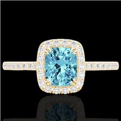 1.25 CTW Sky Blue Topaz & Micro Pave VS/SI Diamond Halo Ring 10K Yellow Gold - REF-34H5A - 22914