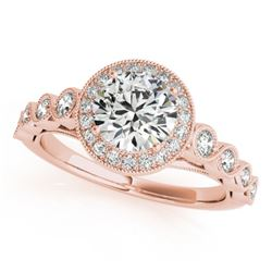 1.05 CTW Certified VS/SI Diamond Solitaire Halo Ring 18K Rose Gold - REF-138H8A - 26399