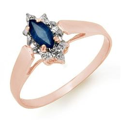 0.33 CTW Blue Sapphire Ring 18K Rose Gold - REF-19X3T - 12989