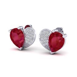 2.50 CTW Ruby & Micro Pave VS/SI Diamond Earrings 10K White Gold - REF-33T8M - 20077