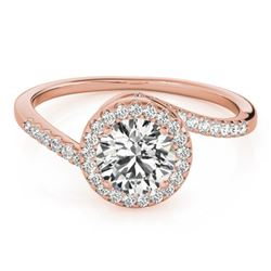 0.75 CTW Certified VS/SI Diamond Bypass Solitaire Ring 18K Rose Gold - REF-114M5H - 27655