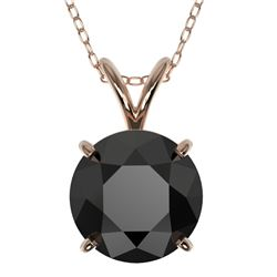 2 CTW Fancy Black VS Diamond Solitaire Necklace 10K Rose Gold - REF-43X2T - 33234