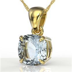 1.50 CTW Cushion Cut Sky Blue Topaz Designer Solitaire Necklace 18K Yellow Gold - REF-23H5A - 21967