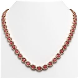 31.1 CTW Tourmaline & Diamond Halo Necklace 10K Rose Gold - REF-600M2H - 40419