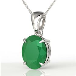 3.50 CTW Emerald Designer Inspired Solitaire Necklace 18K White Gold - REF-33T3M - 21860