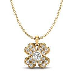 0.27 CTW Micro Pave VS/SI Diamond Necklace 18K Yellow Gold - REF-34K2W - 20352