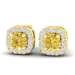 0.75 CTW Citrine & Micro Pave VS/SI Diamond Earrings Halo 18K Yellow Gold - REF-35A8X - 21172