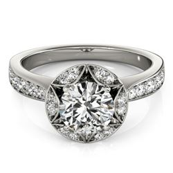 1.5 CTW Certified VS/SI Diamond Solitaire Halo Ring 18K White Gold - REF-404H4A - 26889