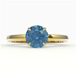2 CTW London Blue Topaz Inspired Solitaire Engagement Ring 18K Yellow Gold - REF-36H2A - 22230