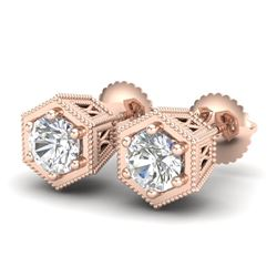 1.15 CTW VS/SI Diamond Solitaire Art Deco Stud Earrings 18K Rose Gold - REF-174A5X - 37218