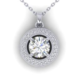 1.1 CTW Certified VS/SI Diamond Micro Halo Stud Necklace 14K White Gold - REF-180M2H - 30492