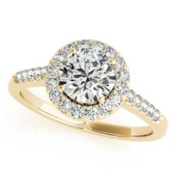0.76 CTW Certified VS/SI Diamond Solitaire Halo Ring 18K Yellow Gold - REF-133A3X - 26337