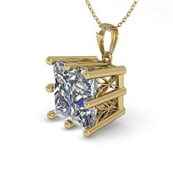 1 CTW Certified VS/SI Princess Diamond Necklace 18K Yellow Gold - REF-285A2X - 35869