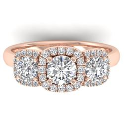 1.55 CTW Certified VS/SI Diamond Solitaire 3 Stone Ring 14K Rose Gold - REF-182Y5K - 30427
